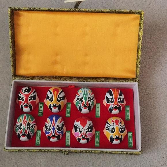 Vintage Chinese miniature opera masks set of 8